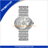 Ovales Diamond Dial Women Watch mit Edelstahl Band