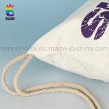 Sacos de Drawstring requintados feitos sob encomenda de Fabrice do algodão do saco da impressão de seda (SS-dB5)