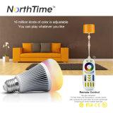 9W E27 RGBW LEDの電球2.4G RF無線リモート・コントロールライト