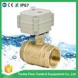 Vávula de bola de cobre amarillo motorizada de cobre amarillo del actuador de la vávula de bola del agua del control eléctrico de 2 maneras con la operación manual (T25-B2-B)