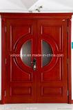 Porte en bois commerciale d'entrée, bois solide classique de 100% pour la villa, décoration avec la glace