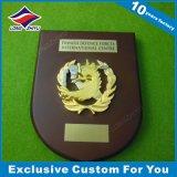 trophée en bois de plaque de l'Europe d'écran protecteur de médaillon en métal de l'or 3D