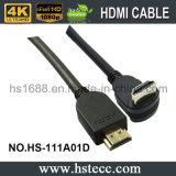 Cabo do ângulo direito HDMI da alta qualidade para a tevê 3D