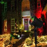 屋外の赤い緑の動きのきらめく星プロジェクターレーザーのシャワーライト