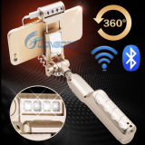 2016新しいデザインFoldableフラッシュLEDライトおよびミラーが付いている夜によって撃たれる無線Selfieの棒