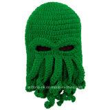 Chapeau tricoté de tricotage fabriqué à la main de l'hiver de seul masque de poulpe