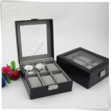 Umweltfreundliche 6 Slots PU Leather Watch Storage Box mit Glass Window