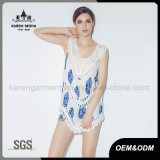 Crochet Trim를 가진 숙녀 Fashion Flower Print Vest