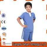 Polo-T-shirt 100% et pantalon primaires bleus d'uniforme scolaire de coton
