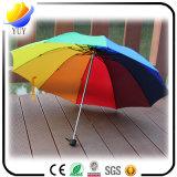 Guarda-chuva aberto de dobramento do lápis do manual da luz três super (guarda-chuva de praia ou guarda-chuva relativo à promoção, guarda-chuva do presente, anunciando o guarda-chuva)