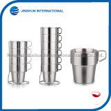 Tazas de café del aislante de calor de la capa doble fijadas de 6 tazas aisladas del acero inoxidable