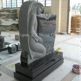 Pietra tombale nera di angelo di disegno della farfalla del granito