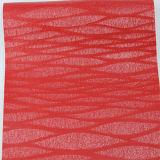 装飾的な家具のための高品質の輝きの縦の十字の縞PU PVC総合的な革