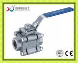 Trois parties d'acier inoxydable de robinet à tournant sphérique avec le support de fixation ISO5211