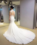 Vestido de casamento branco de venda quente da sereia com parte traseira do buraco da fechadura