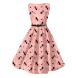 Femme Party Clothing Fabricant Peacock Printing Retro Swing Dancing Dresses