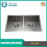 Aço inoxidável feito à mão Ns-3202 DIY Customrized Double Bowl Kitchen Sink