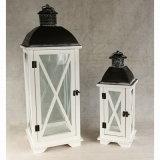 Lanterna de madeira e metal de vidro interior Antique Candle Lantern