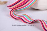 Tejido de Poliéster Rainbow Jacquard Webbing para Manija de Caja de Regalo