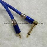 3.5 Stereo к 6.35 прямоугольным соединениям микрофона/кабелю сини аппаратуры гитары/нот
