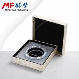 Caixa de presentes de moeda de MDF bege e requintado de tecido elegante