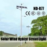 As luzes do sistema híbrido de vento solar com dobro armam a bateria de lítio