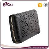 Черный бумажник для женщин, бумажник кожи RFID застежка-молнии с конструкцией способа