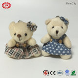 치마 소녀 장난감 곰 작은 견면 벨벳에 의하여 채워지는 연약한 Keychain 장난감