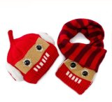 Комплект шлема и шарфа младенца теплый связанный