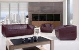 Sofá de cuero seccional de la sala de estar de los muebles caseros modernos negros