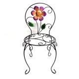 Dekorativer Stuhl formte Garten-Dekoration Linellae Metallflowerpot-Standplatz-Fertigkeit