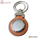 Het hete Leer Keychain van de Verkoop met Metaal (LM1442)
