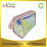 Poche cosmétique iridescente de vinyle d'espace libre de sac de PVC de l'arrivée 2017 neuve