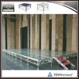 Suelo de la etapa al aire libre, plataforma del plexiglás