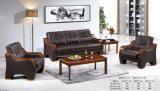 Sofa classique populaire de cuir de bureau de présidence d'hôtel de loisirs avec l'accoudoir en bois 1+1+3 en stock