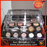 Organizador cosmético del rectángulo de la joyería del maquillaje de acrílico de la visualización