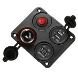 On-off Switch 12V Socket Cigarette Lighter Voltmeter Dual USB Charger