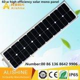 Солнечный уличный свет с всеми в одной батарее подъема Po4 лития 40W СИД