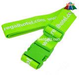 """良質ポリエステル2 """"プラスチックバックルが付いている印刷された緑の荷物ストラップ"""