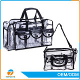 2017 Best Selling Vinyl Cosmetics Sac de maquillage en PVC transparent avec sangle d'épaule amovible, sac en PVC transparent