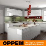 現代白く光沢度の高いラッカーおよび薄い灰色のメラミン食器棚(OP16-L08)