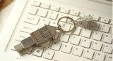 Привод пер USB формы дома, ручка USB металла с Keychain
