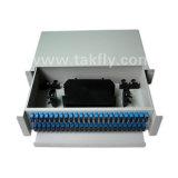 Painel de correção de programa Slidable da fibra óptica da montagem de cremalheira das portas de FTTH 96