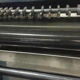 El PLC controla la película que raja y máquina el rebobinar con 200 M/Min