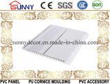 2つの金ラインCielo Raso De PVCが付いている中間の溝の印刷PVC天井の壁パネル