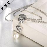 Collar del colgante de los accesorios del banquete de boda de Rose de la perla del oro blanco