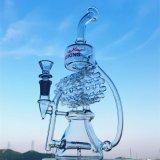 Tubo de agua de cristal del tubo de agua de la torcedura de la base del cubilete del reciclador de rey Dry Herb Bowls Organ de la Hb que fuma