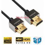 HDTV/Blu光線プレーヤー、3D/4k/2160pの細いHDMIケーブル2.0のための高速