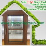 Buena calidad de aluminio ventana de madera, ventana de aluminio excelente abatible de madera con mango de manivela plegable