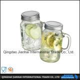 vaso di muratore della bottiglia di vetro 600ml con il coperchio dell'acciaio inossidabile
